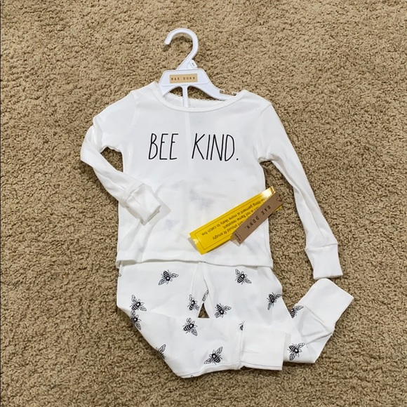 "NWT Rae Dunn ""Bee Kind"" girls pajama set"